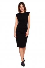 Bawełniana Sukienka z Marszczeniami - Czarna