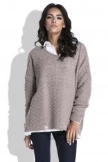 Mocca Luźny Sweter z Dekoltem V