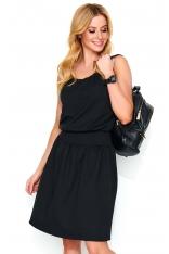 Czarna Letnia Sukienka na Cienkich Ramiączkach