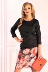 Czarna Dopasowana Sukienka z Kwiatowym Motywem na Spódnicy