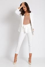 Elegancki Komplet Marynarka + Spodnie - Biały