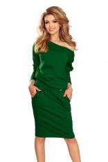 Zielona Codzienna Zbluzowana Sukienka z Dekoltem na Plecach