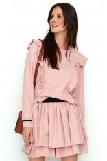 Różowy Ultrakobiecy Dresowy Komplet Bluzka i Mini Spódnica