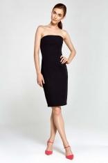 Czarna Sukienka Wieczorowa Ołówkowa Tuba z Odkrytymi Ramionami