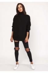 Czarny Ciepły Oversizowy Sweter z Golfem