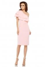 Różowa Dopasowana Sukienka z Falbanką na Jedno Ramię