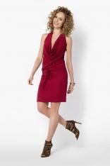 Bordowa Midi Sukienka z Dekoltem Typu Woda