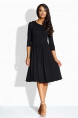 Czarna Sukienka Klasyczna z Szerokim Dołem z Kieszeniami