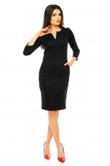Czarna Dopasowana Wizytowa Sukienka z Suwakiem przy Dekolcie