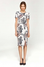 Ołówkowa Sukienka z Krótkim Rękawem- Wzór