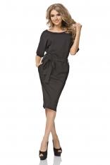 Czarna Sukienka Kimonowa Midi z Paskiem