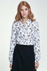 Klasyczna Bluzka Koszulowa Wzór Kwiaty/Ecru