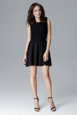 Czarna Kobieca Sukienka bez Rękawów z Rozkloszowanym Dołem