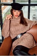 Oversizowy Sweter z Golfem w Warkocze - Cappuccino