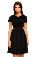 Czarna Wizytowa klasyczna Sukienka z Paskiem z eko-skóry