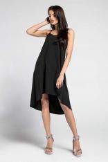 Czarna Swobodna Asymetryczna Sukienka na Wąskich Ramiączkach