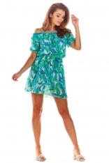 Krótka Zielona Sukienka w Kwiaty z Dekoltem Carmen