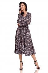 Rozkloszowana Sukienka z Rozciętymi Rękawami w Panterkę