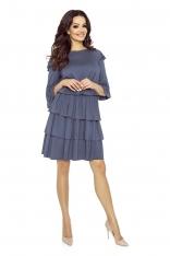 Sukienka Zwiewna i Kobieca z Falbankami w kolorze Jeansu