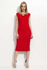 Czerwona Sukienka Midi z Lejącym Dekoltem
