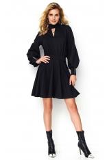 Rozkloszowana Czarna Sukienka ze Srebrną Taśmą