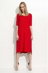 Czerwona Trapezowa Kobieca Sukienka Midi