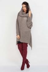Latte Luźny Długi Sweter z Kominem