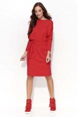 Czerwona Sukienka Odcinana w Pasie z Wiązaniem