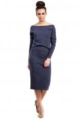 Niebieska Sukienka Dopasowana Midi z Nakładką