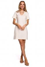 Wygodna Sukienka w Kształcie Litery A - Śmietankowa