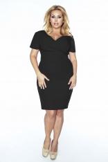 Czarna Sukienka Dopasowana z Kopertowym Dekoltem Plus Size