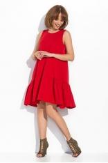 Czerwona Kobieca Rozkloszowana Sukienka bez Rękawów