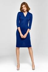 Wizytowa Dopasowana Sukienka z Dekoltem V - Niebieska