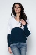 Granatowy Sweter Dwubarwny Krótki z Dekoltem w Szpic