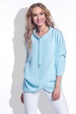 Błękitny Sweter z Troczkami przy Dekolcie
