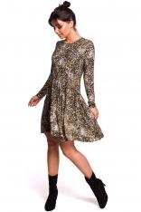 Wzorzysta Sukienka z Lekko Marszczonym Dołem
