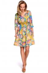 Wzorzysta Rozkloszowana Sukienka z Guzikami - Model 2