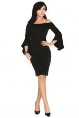 Czarna Ołówkowa Sukienka z Rozkloszowanym Rękawem