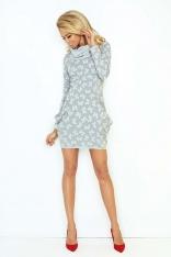 Biała Mini Sukienka z Opadającym Golfem i Kieszeniami
