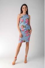 Błękitna Elegancka Ołówkowa Sukienka na Jedno Ramię w Kwiaty