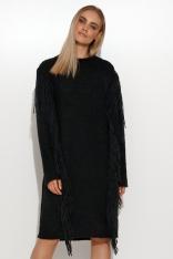 Swetrowa Sukienka z Frędzlami - Czarna