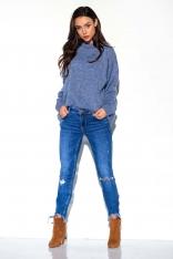 Jeansowy Gładki Oversizowy Półgolf