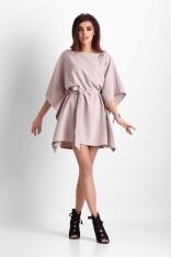 Beżowa Nietoperzowa Sukienka z Wiązanym Paskiem