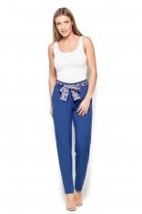 Niebieske Spodnie Cygaretki z Wiązaną Szarfą