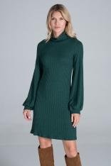 Dzianinowa Sukienka z Golfem - Zielona