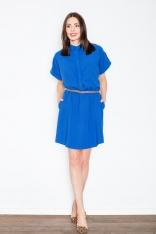 Niebieska Sukienka Szmizjerka z Podpinanym Krótkim Rękawem
