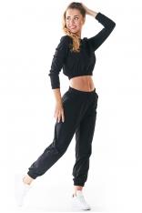 Czarne Klasyczne Dresowe Spodnie na Gumie