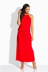 Czerwona Maxi Sukienka z Rozcięciem