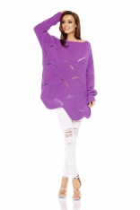 Fioletowy Sweter Oversize z Dekoltem w Łódkę na Długi Rękaw