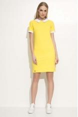 Żółta Sukienka Dzianinowa z Białym Kołnierzykiem
